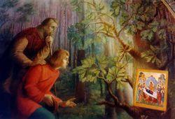 """Фреска Свято-Успенского монастыря """"Явление Иконы Божьей Матери""""."""